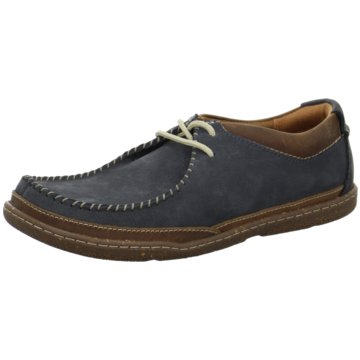 Clarks Komfort Schnürschuh blau
